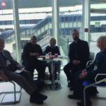 Meeting with the Holy See rep, Rev Dr Fredrick Hansen. L-R: Michael Pulham, Caroline Gilbert, Geraldine Ellis, Rev  Dr Hansen and and Patricia Pulham