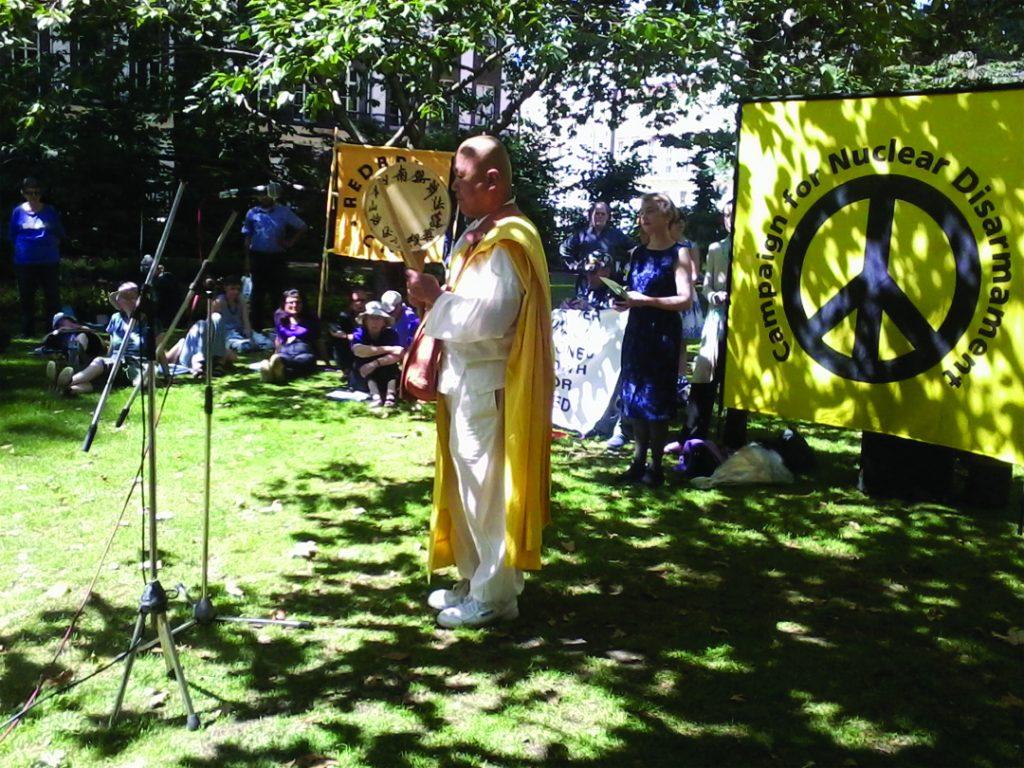 Rev Nagase speaking at Hiroshima Day ceremony. Pic: Pax Christi